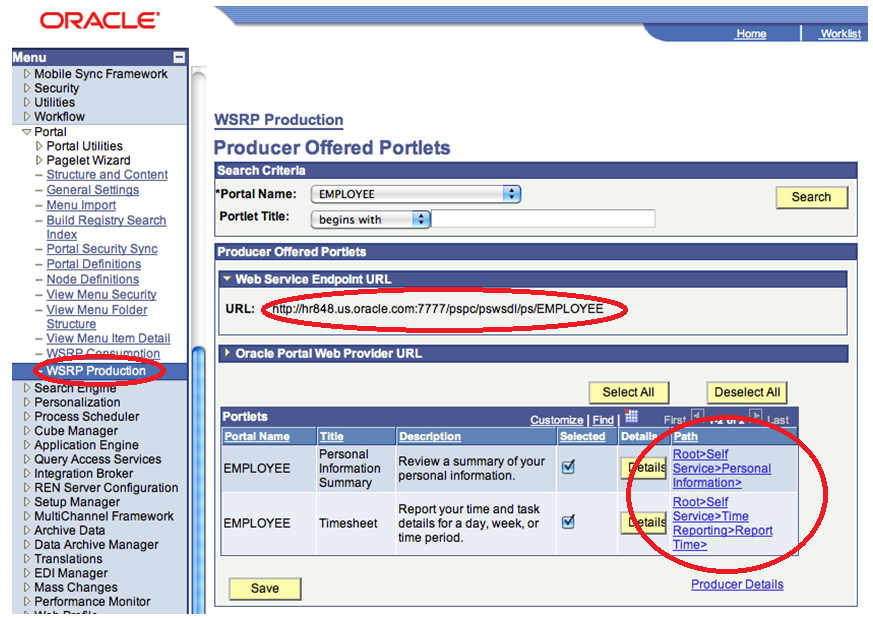 peoplesoft portlets exposing webcenter through redstack button need