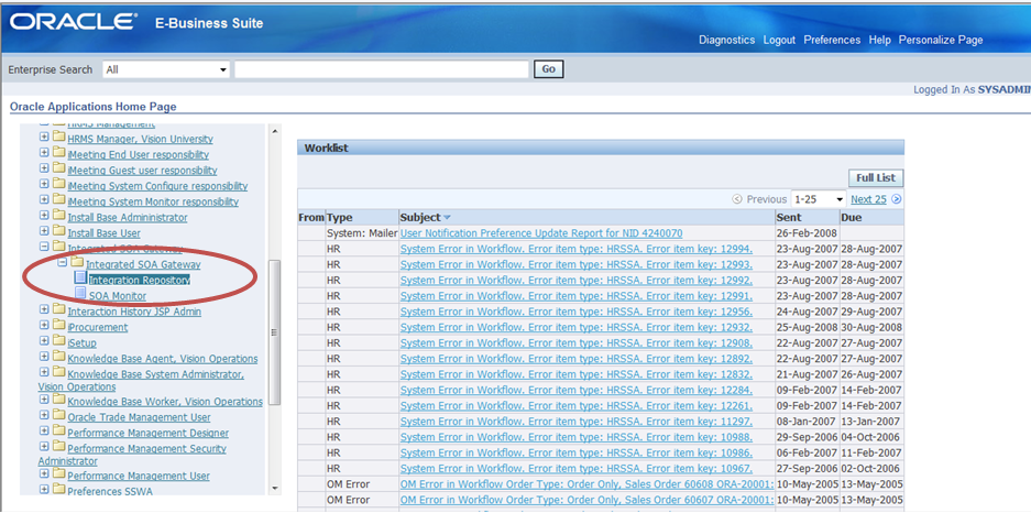 Exposing E-Business Suite services using the Integrated SOA Gateway